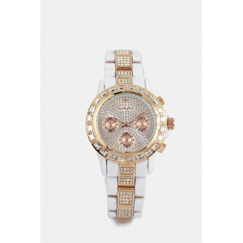 Victoria Watch - White & Rose Gold